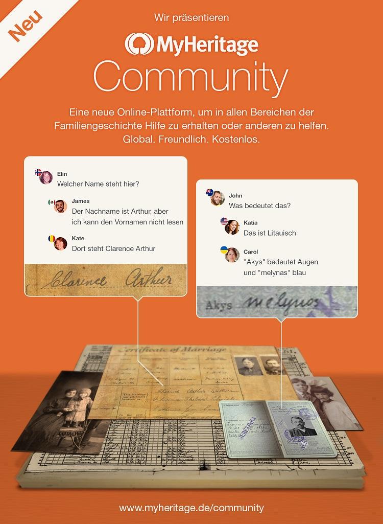 Die MyHeritage Community ermöglicht Nutzern Anfragen zu ihrer Familiengeschichtsforschung zu stellen und Hilfe von der globalen Community, bestehend aus 81 Millionen Menschen, zu erhalten.
