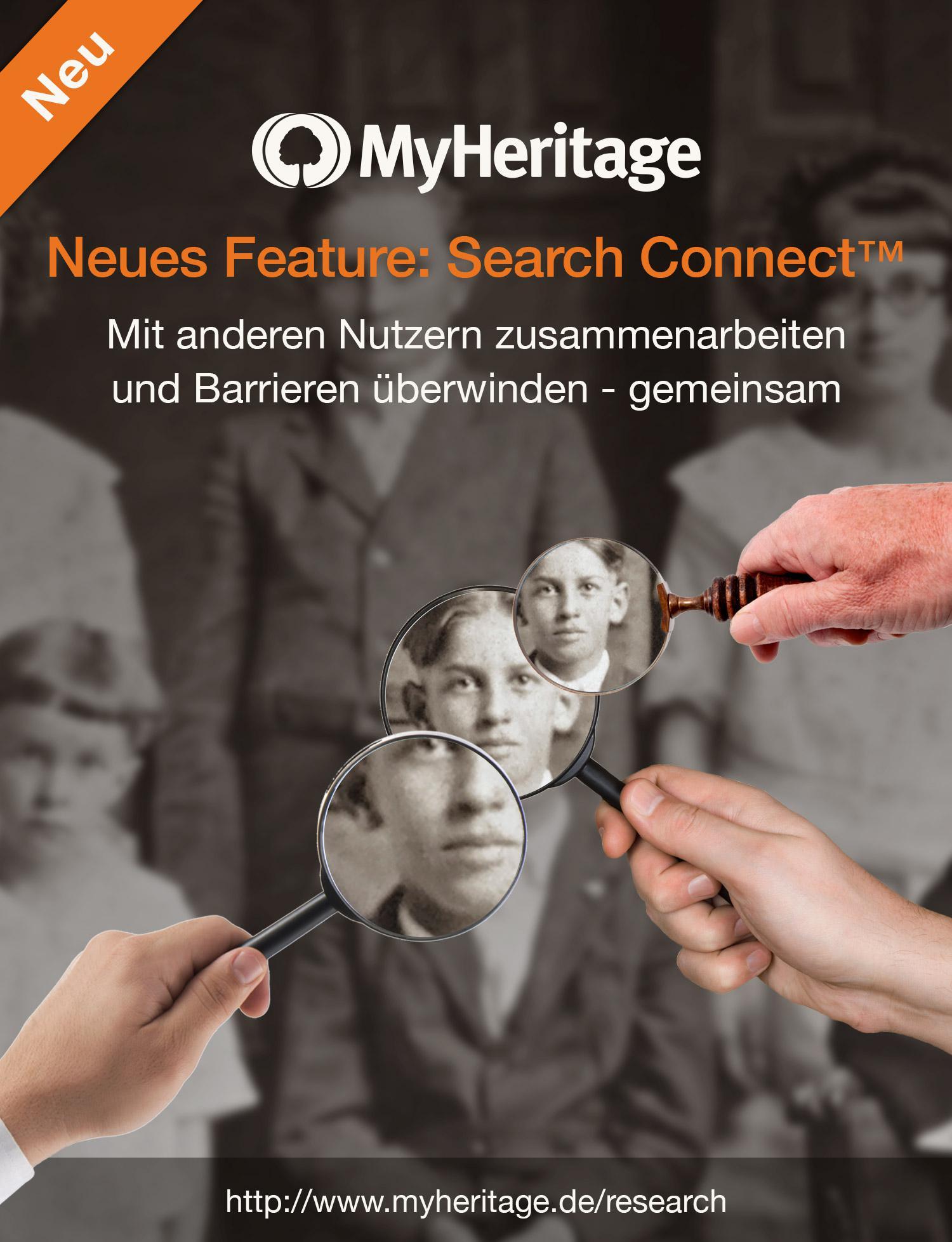 Search Connect™ wandelt Suchanfragen der Nutzer in Ergebnisse für andere Nutzer um. Sie verbindet somit Menschen, die die gleichen Vorfahren suchen, und unterstützt ihre Zusammenarbeit.